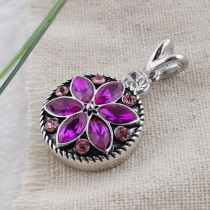 20MM design snap Antique silver plated with rose-red Rhinestone KC7480 interchangeable snaps jewelry
