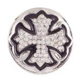 20MM cross snaps Silver Plated with white Rhinestone KB6876 snaps jewelry