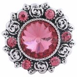 20MM Flower snap Silver Plated with Rose rhinestones KC6070 snaps jewelry