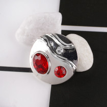 20MM Round snap  silver plated DS5065 with red and clear Rhinestone interchangeable snaps jewelry