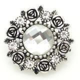 Broche de flores 20MM Chapado en plata antigua con vidrio de sección blanca KB8916 broches de joyería