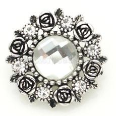 20MM flower snap Antique Silver Plated with white Section glass KB8916 snaps jewelry