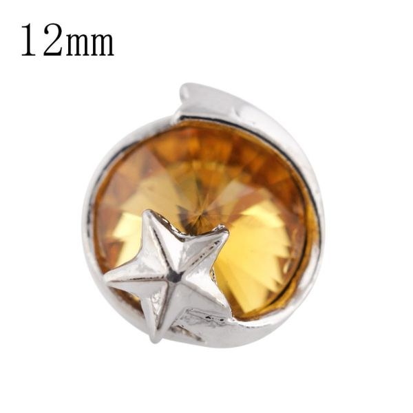 12mm star Small size snaps silver plated with yellow Rhinestone for chunks jewelry