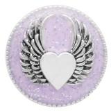 20MM Snap aile argent plaqué émail violet KC6947 s'encliquette bijoux