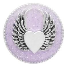 20MM Wing snap silver Chapado con esmalte púrpura KC6947 broches de joyería