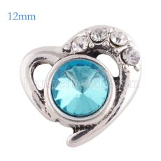 12mm loveheart snaps Silver Plated with blue rhinestone KS6175-S snap jewelry