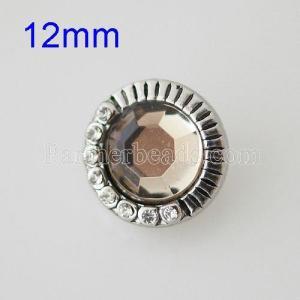 12MM Broche redondo plateado antiguo plateado con diamantes de imitación KB8534-SN broches de joyería