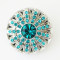20MM Flower snap Silver Plated with sky Cyan rhinestone KB5299 snaps jewelry