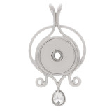 snap sliver Pendant with rhinestone fit 20MM snaps style jewelry KC0410