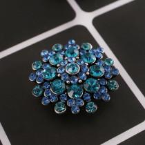 20MM design snap silver Plaqué de strass cyan KC8951 s'encliquette des bijoux