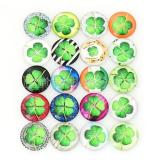 Trozos de broches de vidrio impreso 10pcs - patrón de diseño artístico de tipos de trébol MIX 25