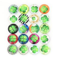 10pcs printed glass snaps chunks--clover MIX 25 types arts design pattern