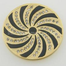 Los encantos de monedas de acero inoxidable 33MM encajan en espiral de tamaño de joyería con diamantes de imitación