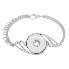 1 buttons snap sliver bracelet White rhinestone fit 20MM snaps jewelry KC0872