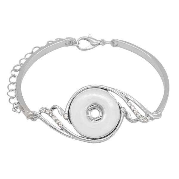 1 Knöpfe Snap Splitter Armband Weiß Strass passen 20MM Snaps Schmuck KC0872