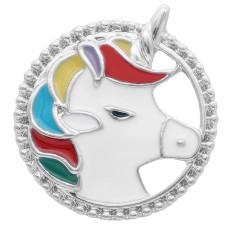 20MM Unicorn Snap Versilbert mit Multicolor Emaille KC7991 Snaps Schmuck