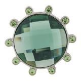 Diseño 20MM complemento plateado con diamantes de imitación verdes KC6378 broches de joyería