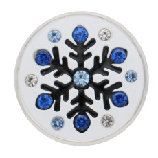 20mm Christmas snowflake grab silver  blue tape drill decorated with enamel KC9909 grab jewelry