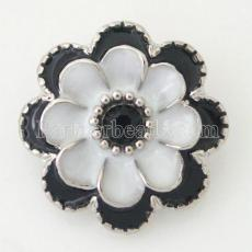 20MM Flower snap Silver Plated with black rhinestone and Enamel KB8777 snaps jewelry