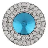 20MM Broche redondo plateado con diamantes de imitación azules KC9880 broches de joyería