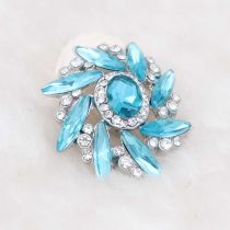 20MM design snap Silver Plated with light blue rhinestone KC7980 snaps jewelry