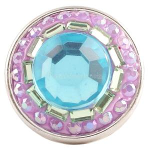 snaps button with blue rhinestone and resinestone KC2770 snaps jewelry