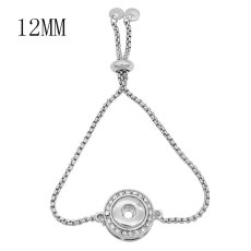1 buttons snap sliver bracelet with Rhinestone fit 12MM snaps jewelry KS1252-S