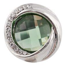 20MM design mousqueton argenté avec strass vert KC7455 mousquetons interchangeables