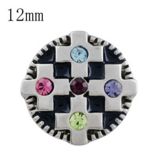 12MM cross snap with colorful Rhinestone and Enamel KS5209-S interchangeable snaps jewelry