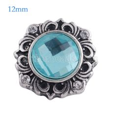 12MM flower snap Antique Silver Plated with light blue glass KS6109-S snaps jewelry