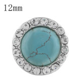 12mm round Small size snaps with Rhinestone and  green Turquoise for chunks jewelry