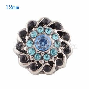12MM Broche de flores plateado con diamantes de imitación azules KS9611-S broches de joyería