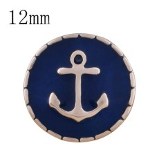 12MM anchor Rose Gold Plated with black enamel KS9692-S snaps jewelry