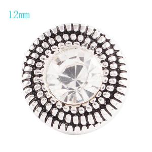 12MM Round snap Antique Silver Plated with white rhinestone KS6040-S snaps jewelry