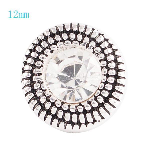 12MM Broche redondo plateado antiguo plateado con diamantes de imitación blancos KS6040-S broches de joyería
