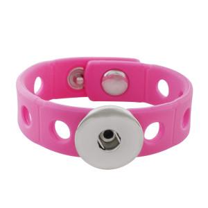 18cm kid junior style bracelet with 15mm width pink silicone stretch fit 20mm snap button