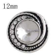 Astilla de diseño 12MM plateada con diamantes de imitación blancos y esmalte KS6272-S joyería de broches intercambiables