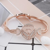 20MM heart Rose-Gold Plated with white rhinestone KC7554 snaps jewelry