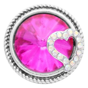 20MM love snap Silver Plated with rose-red rhinestone KC7819 snaps jewelry