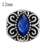 Astilla de diseño 12MM plateada con diamantes de imitación azules y esmalte KS6255-S joyería de broches intercambiables
