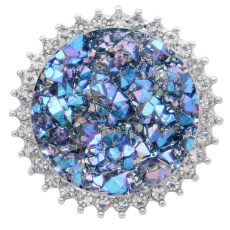 25MM Artificial Crystal  snap Silver opal plated KC7986 Light Blue
