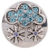 20MM snow snap silver plated with blue Rhinestone KC5491 snaps jewelry