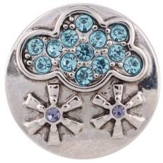Broche de nieve 20MM plateado con diamantes de imitación azules KC5491 broches de joyería