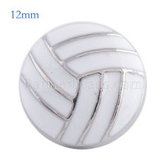12MM volleyball snap Antique Silver Plated with white enamel KS6085-S snaps jewelry