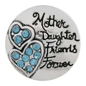 Astilla de corazón 20MM plateada con diamantes de imitación azules KC6510 broches de joyería