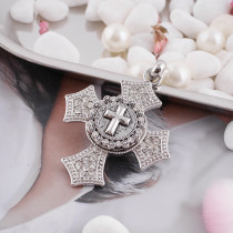 20MM Cross snap Silver Plated with  rhinestone KB5151 snaps jewelry