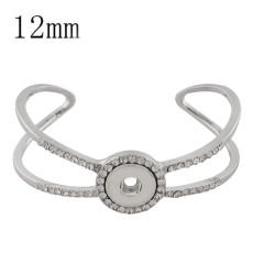 Snap sliver copper bracelet with rhinestone KS1160-S fit 12mm snaps chunks