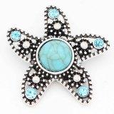 Astilla 20MM Starfish chapada con diamantes de imitación y turquesa cian KC6695 broches de joyería