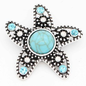 20MM Starfish snap sliver Plated with rhinestones and   cyan Turquoise KC6695 snaps jewelry