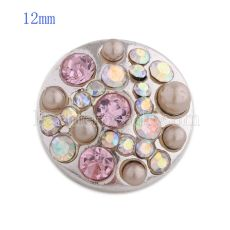 12MM round snap Silver Plated with pink rhinestone and beads KS8039-S snaps jewelry